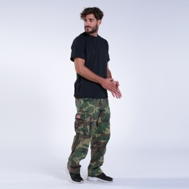 Pants MLC 45019 Canvas Zipper Cap Pockets Loose Fit Camo Green