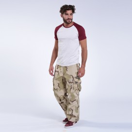 Pants MLC 45019 Canvas Zipper Cap Pockets Loose Fit Camo Beige