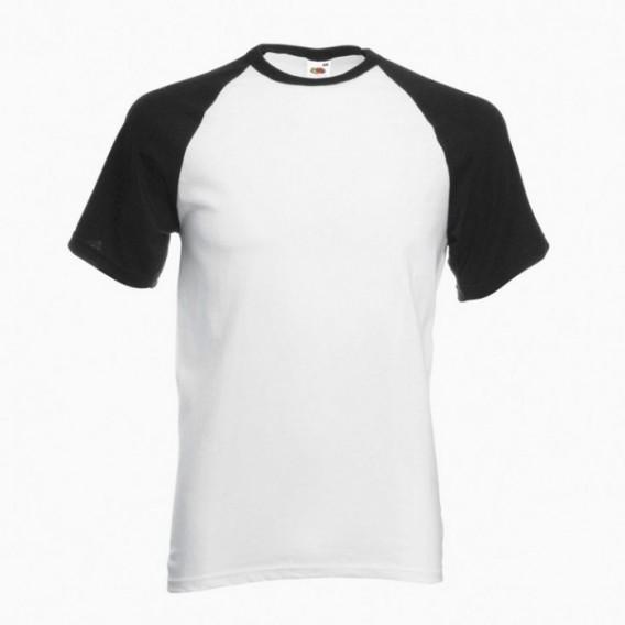 T-Shirt 02045 Baseball Cotton 160 Gsm Regular Fit White/Black