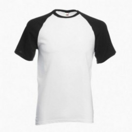 T-Shirt 02045 Baseball Cotton 160 Gsm Regular Fit White/Black