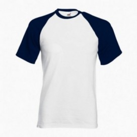 T-Shirt 02045 Baseball Cotton 160 Gsm Regular Fit White/Navy