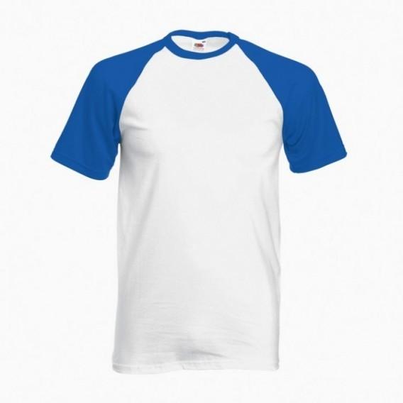 T-Shirt 02045 Baseball Cotton 160 Gsm Regular Fit White/Royal Blue