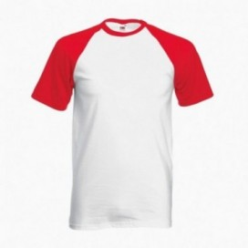 T-Shirt 02045 Baseball Cotton 160 Gsm Regular Fit White/Red