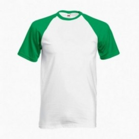 T-Shirt 02045 Baseball Cotton 160 Gsm Regular Fit White/Green