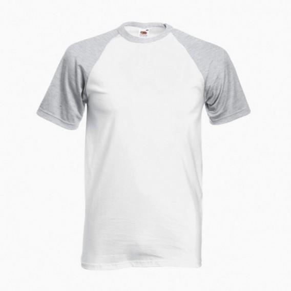 T-Shirt 02045 Baseball Cotton 160 Gsm Regular Fit White/Heather Grey Light