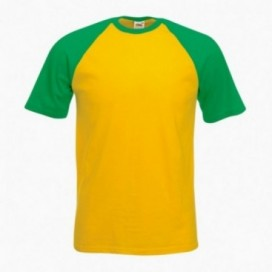 T-Shirt 02045 Baseball Cotton 160 Gsm Regular Fit Yellow/Green (Brazil)