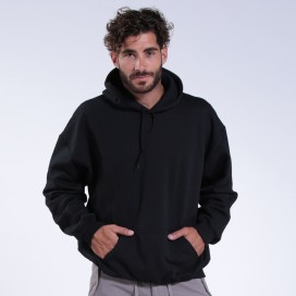 Hoodie 00043 Inner Fluff Cotton Blend 320 Gsm Regular/Loose Fit Black