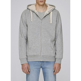 Jacket M Zipped Hoody Sherpa Organic Cotton 300 Gsm Blend Regular Fit Heather Grey