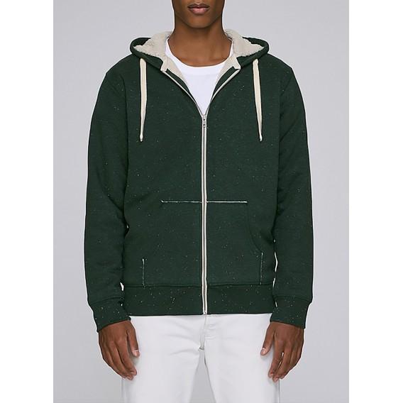 Jacket M Zipped Hoody Sherpa Organic Cotton 300 Gsm Blend Regular Fit Heather Scarab Green