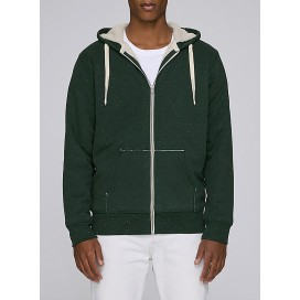 Jacket M Zipped Hoody Sherpa Organic Cotton 300 Gsm Blend Regular Fit Heather Scarab Green