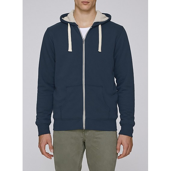 Jacket M Zipped Hoody Sherpa Organic Cotton 300 Gsm Blend Regular Fit Navy