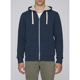 Jacket M Zipped Hoody Sherpa Organic Cotton 300 Gsm Blend Regular Fit Navy