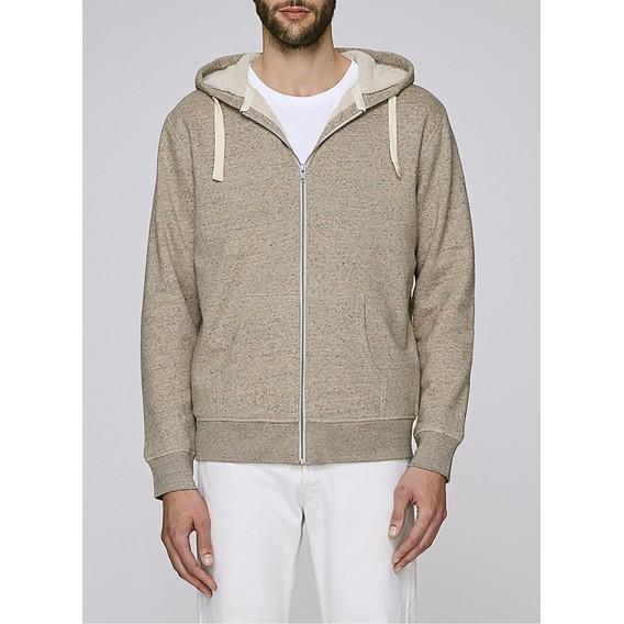 Jacket M Zipped Hoody Sherpa Organic Cotton Blend 300 Gsm Regular Fit Slub Mid Heather Clay