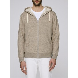 Jacket M Zipped Hoody Sherpa Organic Cotton Blend 300 Gsm Regular Fit Slub Mid Heather Clay