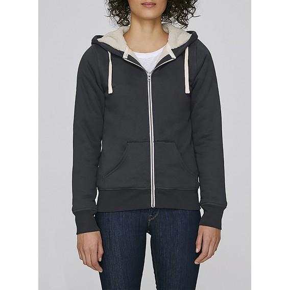 Jacket W Zipped Hoody Sherpa Organic Cotton Blend Regular Fit Stretch Limo (Black)