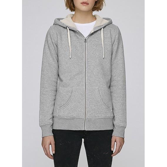 Ζακέτα W Zipped Hoody Sherpa 300 Gsm Organic Cotton Blend Hether Grey