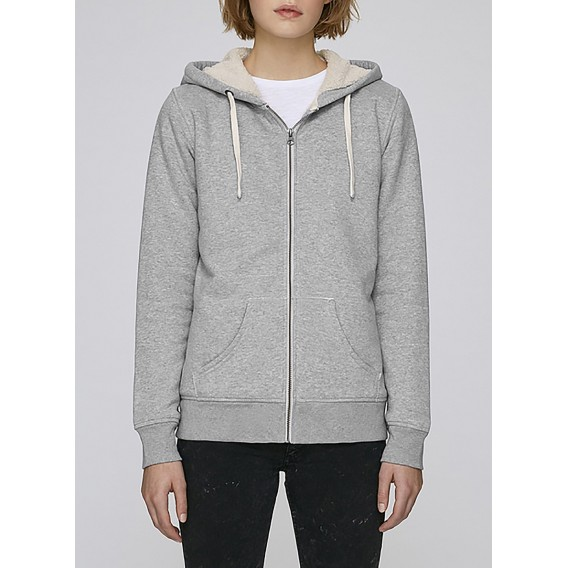 Jacket W Zipped Hoody Sherpa 300 Gsm Organic Cotton Blend Hether Grey