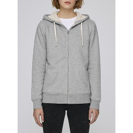Jacket W Zipped Hoody Sherpa 300 Gsm Organic Cotton Blend Heather Grey
