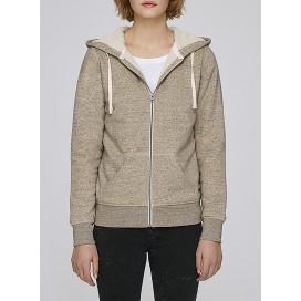Ζακέτα W Zipped Hoody Sherpa 300 Gsm Organic Cotton Blend Slub Mid Heather Clay