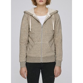 Jacket W Zipped Hoody Sherpa 300 Gsm Organic Cotton Blend Slub Mid Heather Clay
