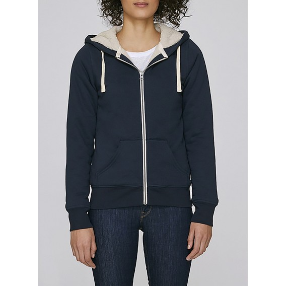 Jacket W Zipped Hoody Sherpa 300 Gsm Organic Cotton Blend Navy