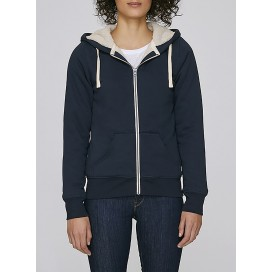 Jacket W Zipped Hoody Sherpa 300 Gsm Organic Cotton Blend Navy