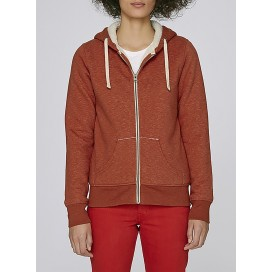 Jacket W Zipped Hoody Sherpa 300 Gsm Organic Cotton Blend Heather Brick Orange