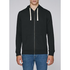 Jacket M Zipped Hoody 320 Gsm Organic Cotton Blend Stretch Lino (Black)