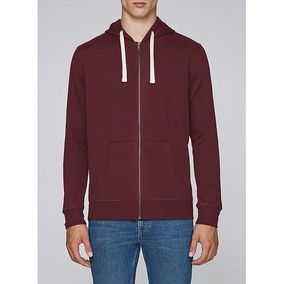 Jacket M Zipped Hoody 320 Gsm Organic Cotton Blend Burgundy
