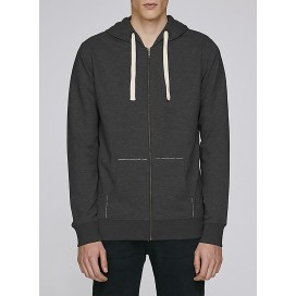 Jacket M Zipped Hoody 320 Gsm Organic Cotton Blend Dark Heather Grey