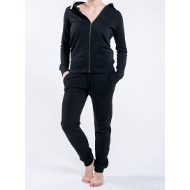 Jacket W Zipped Hoody 320 Gsm Organic Cotton Blend Stretch Lino (Black)