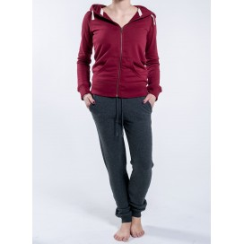 Jacket W Zipped Hoody 320 Gsm Organic Cotton Blend Burgundy