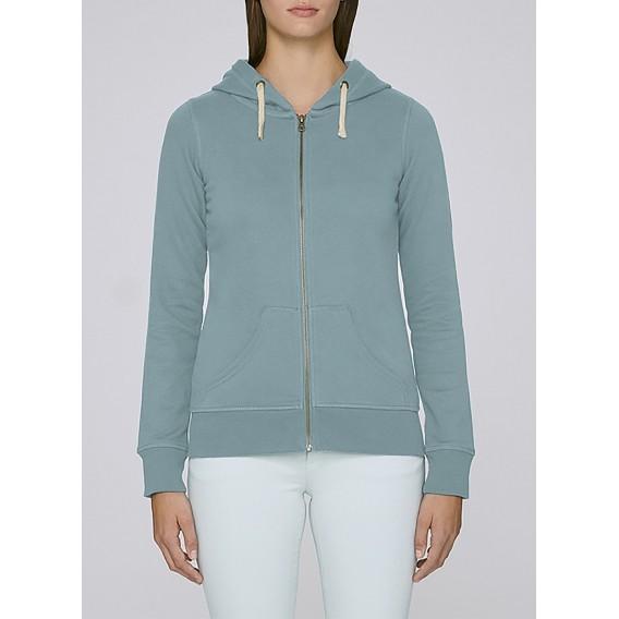 Jacket W Zipped Hoody 320 Gsm Organic Cotton Blend Citadel Blue