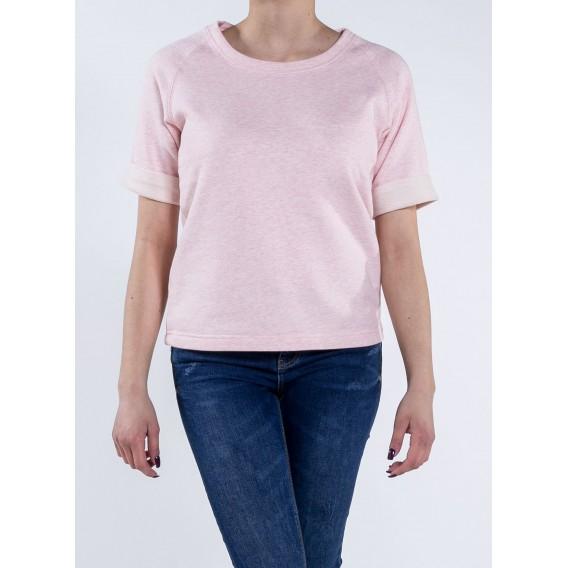 Blouse W S/S Sweatshirt 300 Gsm Organic Cotton Blend Cream Heather Pink