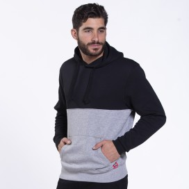 Hoodie 02042 SDS Double Cotton Blend 320 Gsm Slim Fit Black/Heather Grey