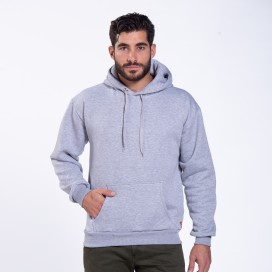Hoodie 00043 Inner Fluff Cotton Blend 320 Gsm Regular/Loose Fit Heather Grey