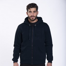 Jacket Hoodie Zipper 00042 Inner Fluff Cotton Blend 320 Gsm Regular/Loose Fit Navy