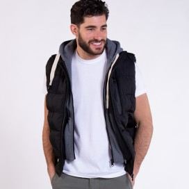 Hooded Puffer Vest 02042 Black