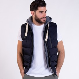 Hooded Puffer Vest 02042 Navy