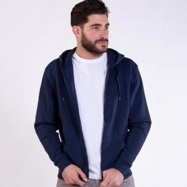Jacket Hoodie 03042 DS Zipper Cotton Blend 275 Gsm Slim Fit Navy