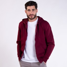 Ζακέτα Hoodie 03042 DS Zipper Cotton Blend 275 Gsm Slim Fit Burgundy