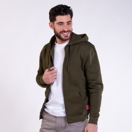 Jacket Hoodie 03042 DS Zipper Cotton Blend 275 Gsm Slim Fit Khaki