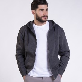 Ζακέτα Hoodie 03042 DS Zipper Cotton Blend 275 Gsm Slim Fit Anthracite