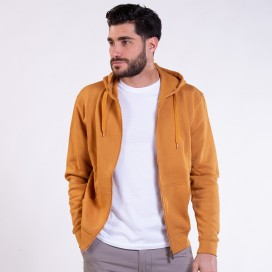 Jacket Hoodie 03042 DS Zipper Cotton Blend 275 Gsm Slim Fit Camel