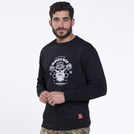 Sweatshirt 06043 Printed 'Skullheads' Cotton 275 Gsm Slim Fit Black