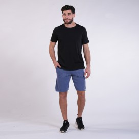Workout Shorts Front Pocket 3060 Cotton 265 Gsm Regular Fit Indigo