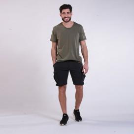 Workout Shorts Cargo 3100 Cotton 265 Gsm Regular Fit Black