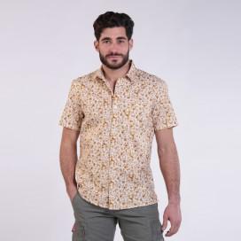 Πουκάμισο JOIN CLOTHES Floral Print Short Sleeves Cotton Beige