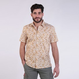 Shirt JOIN CLOTHES Floral Print Short Sleeves Cotton Beige