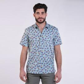 Πουκάμισο JOIN CLOTHES Floral Print Short Sleeves Cotton Aqua